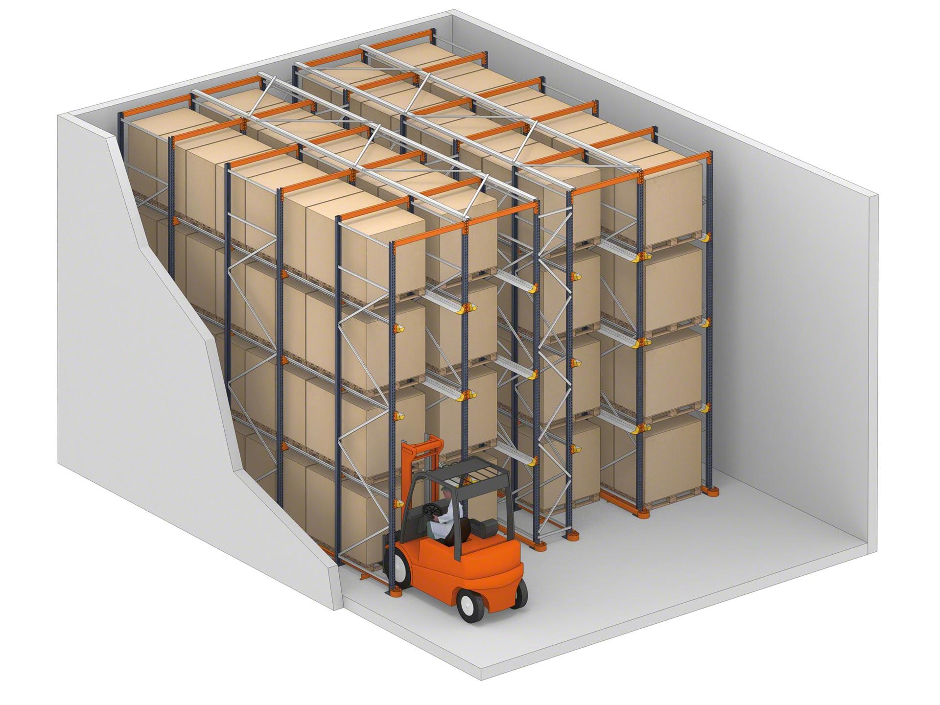 Система въезда - это полки, на которых грузовики могут получить доступ к товарам через свои каналы хранения
